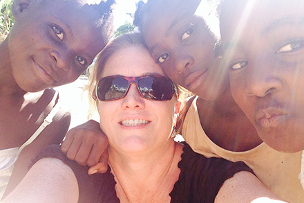 Cathy Sanders, Heifer's vice president for Philanthropy and Foundations, with some of the Heifer participants she met while on her second trip to Haiti.